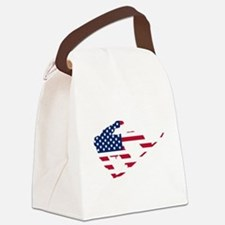 American Flag Snowboarder Canvas Lunch Bag