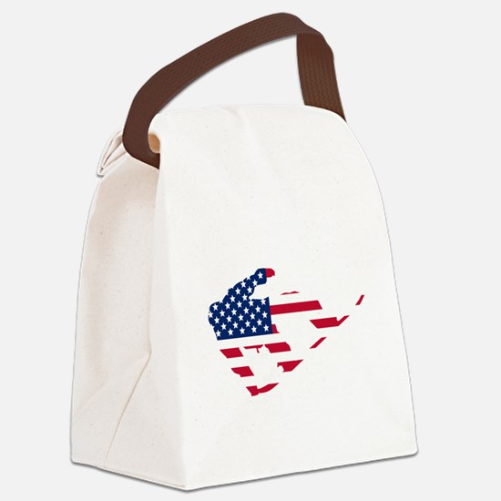 American Flag Snowboarder Canvas Lunch Bag