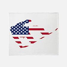 American Flag Snowboarder Throw Blanket