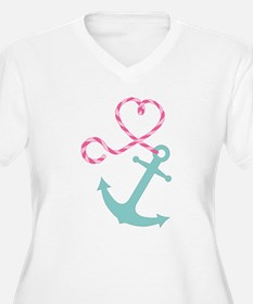 Cute Anchor and Heart Rope Plus Size T-Shirt