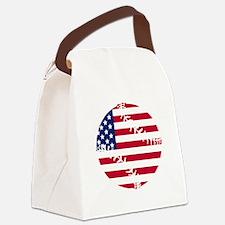 American Flag Baseball Canvas Lunch Bag