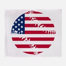 American Flag Baseball Throw Blanket