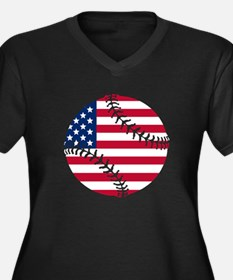 American Flag Baseball Plus Size T-Shirt
