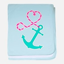 Cute Anchor and Heart Rope baby blanket