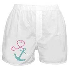 Cute Anchor and Heart Rope Boxer Shorts