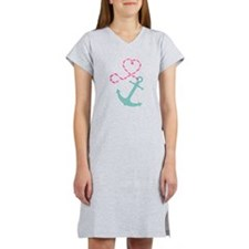 Cute Anchor and Heart Rope Women's Nightshirt