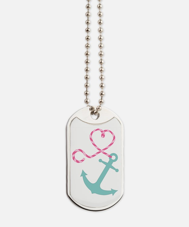 Cute Anchor and Heart Rope Dog Tags