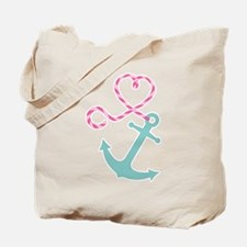 Cute Anchor and Heart Rope Tote Bag