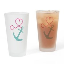 Cute Anchor and Heart Rope Drinking Glass