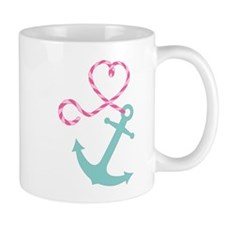 Cute Anchor and Heart Rope Mugs