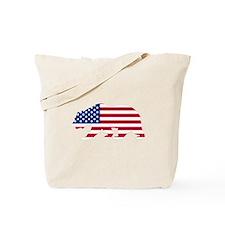 American Flag California Bear Tote Bag