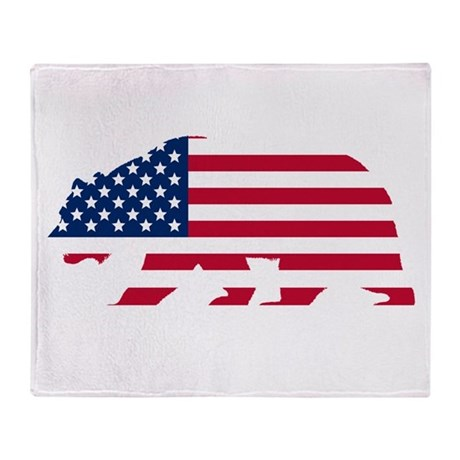 American Flag California Bear Throw Blanket By
