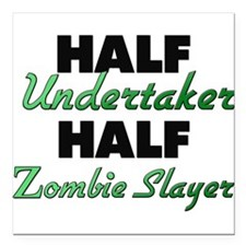 Half Undertaker Half Zombie Slayer Square Car Magn