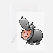 Cartoon Hippopotamus Greeting Cards