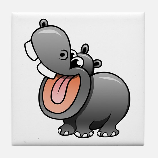 Cartoon Hippopotamus Tile Coaster