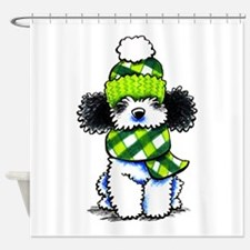 Parti Poodle Scarf Shower Curtain