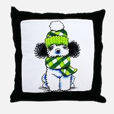 Parti Poodle Scarf Throw Pillow