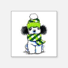 "Parti Poodle Scarf Square Sticker 3"" x 3"""