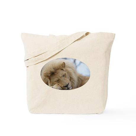 White lion sleeping Tote Bag