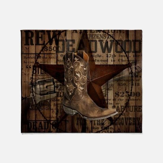 western cowboy Throw Blanket