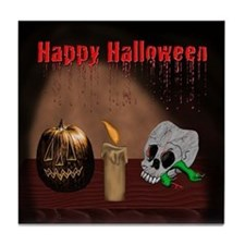 Happy Halloween Jack O Latern Tile Coaster