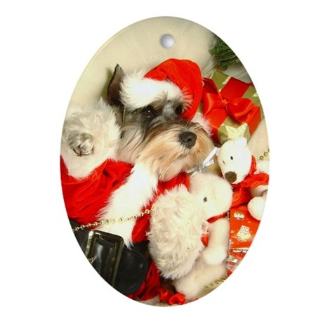 Mini Schnauzer X'mas Oval Ornament