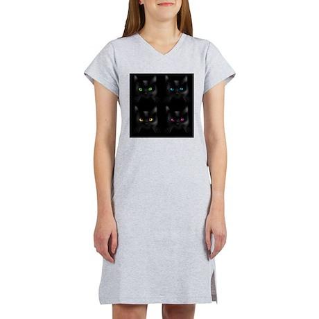 Black Cat Pattern Women's Nightshirt