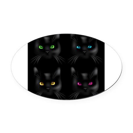 Black Cat Pattern Oval Car Magnet