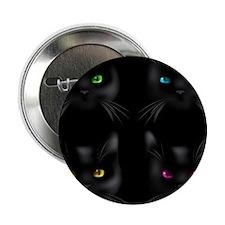 "Black Cat Pattern 2.25"" Button"