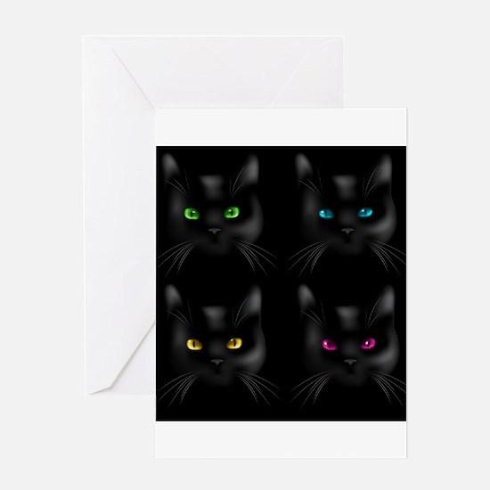 Black Cat Pattern Greeting Cards
