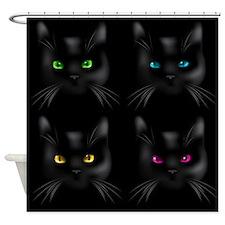 Black Cat Pattern Shower Curtain