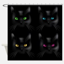 Black Cat Pattern Shower Curtain