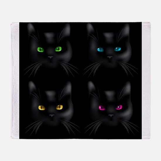 Black Cat Pattern Throw Blanket