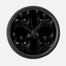 Black Cat Pattern Large Wall Clock
