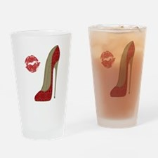 Red Lace Stiletto and Kiss Drinking Glass