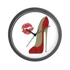 Red Lace Stiletto and Kiss Wall Clock