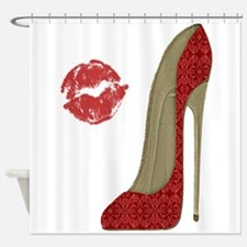 Red Lace Stiletto and Kiss Shower Curtain