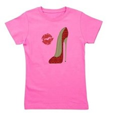 Red Lace Stiletto and Kiss Girl's Tee