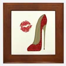 Red Lace Stiletto and Kiss Framed Tile