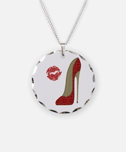 Red Lace Stiletto and Kiss Necklace