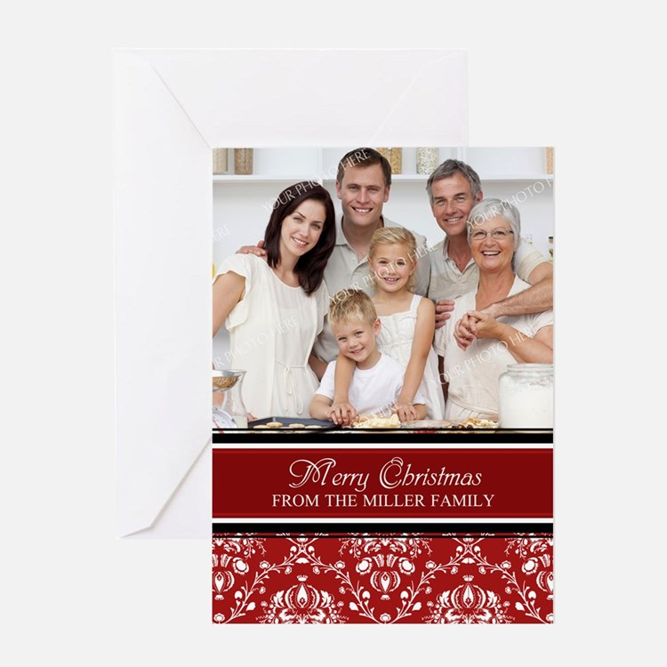 Red Damask Christmas Photo Greeting Card