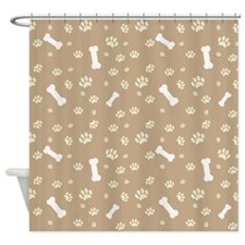 Dog Bone Paw Print Pet Lover Shower Curtain