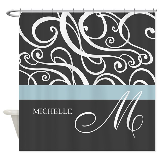 Elegant grey white swirls monogram shower curtain by for Kitchen colors with white cabinets with monogram stickers for cups