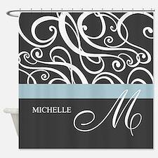 Elegant Grey White Swirls Monogram Shower Curtain