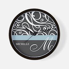Elegant Grey White Swirls Monogram Wall Clock