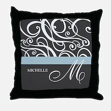 Elegant Grey White Swirls Monogram Throw Pillow