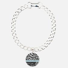 Elegant Grey White Swirls Monogram Bracelet