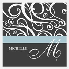 Elegant Grey White Swirls Monogram 5.25 x 5.25 Fla