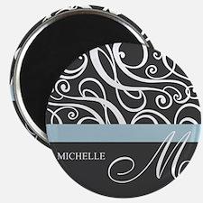 Elegant Grey White Swirls Monogram Magnet