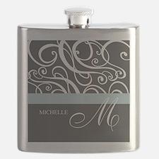 Elegant Grey White Swirls Monogram Flask